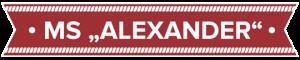 Logo der MS Alexander in Sassnitz auf der Insel Rügen an der Ostseeküste